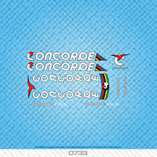 Concorde Prelude Bicycle Decals - Transfers - Stickers - White Text - Set 0733