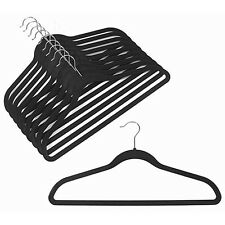 50 Flocked Non Slip Velvet Black Clothes Suit/Shirt/Pants Hangers Set