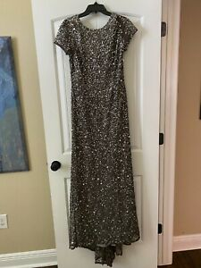 Adrianna Papell full length sequined gown, silver color, size 10, cap sleeve, ba