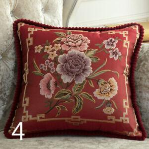 2x Throw Sofa Pillow Case Cover Retro Floral Cushion Embroidery Home Bed Decor