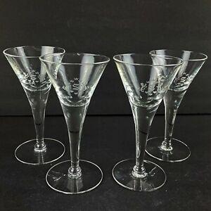 Vintage Martini Cocktail Glasses Optic Etched Royal Lions Crown S Monogram Set 4