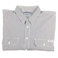 RM Williams Men's Herrick Long Sleeve Blue White & Brown Stripe Shirt 5XB NEW