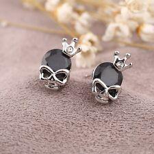 Goth Punk Rock Silver Skull Black Cubic Zirconia Alloy Earrings Stud Jewellery