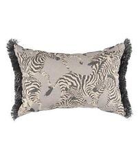 "NWT Exotic Zebra Herd Throw Pillow w/ Fringe XLONG 20"" x 14"" in Black Grey Ivory"