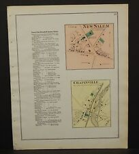 New York Ontario County Map New Salem Chapinville 1874 W15#18