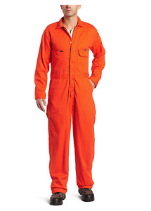 Key Apparel Men's Fire Resistant Long Sleeve Deluxe Coverall, Orange, 36 - NEW