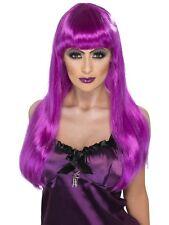 Glamour Witch Wig Purple Long Purple Halloween Wig - Ladies Fancy Dress