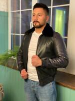 Authentic 100% STEFANO RICCI Leather Coat Italy Black Men Outerwear Original NEW