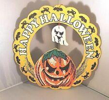 HALLOWEEN WREATH SIGN WALL WOOD ART HANGER HANGING PLAQUE FALL HOLIDAY WREATH