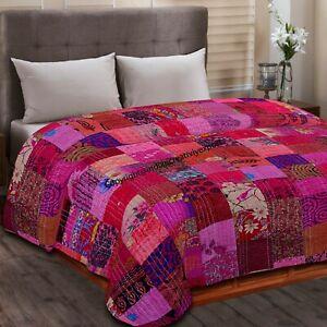 Indian Vintage Patchwork Kantha Quilt Twin & Queen Size Silk Throw Boho Blanket