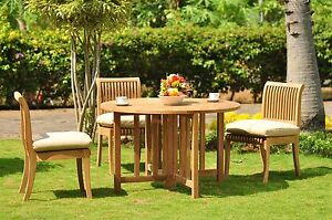 """Giva Grade-A Teak 4 Pc Dining 48"""" Round Table 3 Armless Chair Set Outdoor"""