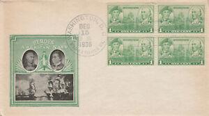 #790 – 1936 1c Army and Navy: John Paul Jones and John Barry FDC, block of (4)