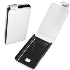 custodia eco PELLE BIANCA LG ELECTRONICS E400 OPTIMUS L3 flip case protezione