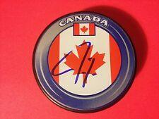 Jordan Eberle Oilers Team Canada Flag Signed Puck Auto COA