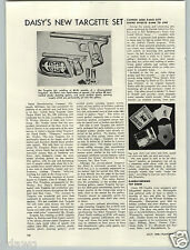 1949 PAPER AD Article Daisy's New Targette Set BB Gun Air Gibbs Spring Tops