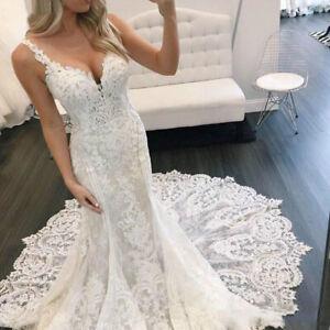 Spaghetti Strap Lace Mermaid Wedding Dresses Big Train V-Neck Sleeveless Custom