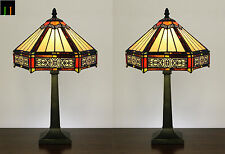 SPECIAL - Pair JT Tiffany Six-Sided Vintage Stained Glass Table Bedside Lamp