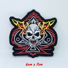 Ace of Spades Skull Biker Fire Embroidered Iron on Sew on Patch #1345-S