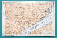 "SAINT PAUL Minnesota City Town Plan - 1909 MAP Baedeker 4 x 6"" (10 x 15,5 cm)"