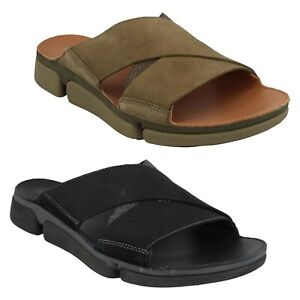 MENS CLARKS TRIGENIC TRI COVE CROSS LEATHER SLIDES MULE SUMMER SANDALS SIZE