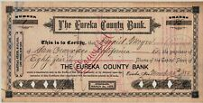 Nevada - Eureka County Bank Stock Certificates (2), Numbers 1 and 2, 1885