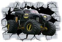 Huge 3D Batman Monster Truck Crashing through wall View Wall Sticker Mural 26