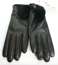 Ugg Black Leather Pom Gloves 17634 Small New $110
