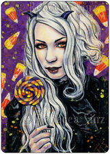 ACEO LE PRINT Art Gothic Halloween Demon Candy Corn Trick or Treat Colorful ATC
