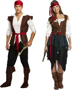 Ladies Mens Kids Caribbean Pirate Lady Costume Fancy Dress Outfit & Accessory