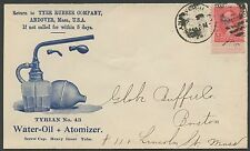 1896 2¢ BUREAU ON LARGE BLUE ADVT TYER RUBBER Co WATER=OIL ATOMIZER COVER BS1741