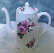 "Rare Shelly Bone China Teapot White with Pink Begonia's Stamped 7"" tall PERFECT"
