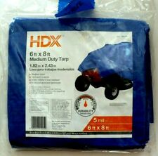 Hdx Medium Duty Tarp 6' X 8' (1.82m x 2.43m) Durability Blue color