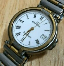 Certina Swiss Dual Tone Sapphire Roman Analog Quartz Watch Hour~Date~New Battery