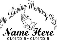 In Loving Memory of Big Decal Car Truck Vinyl Window Sticker Personalized Name
