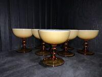 Carlo Moretti Empoli Murano Italy Butterscotch Cased Glass Champagne Sherbet (8)