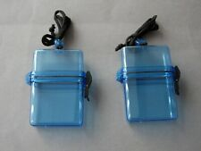 2 x Blue Waterproof Credit Debit ID Card or Key Holders Swimming Outdoor Holiday