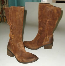 BORN Suede Leather Cowboy Boots BROWN Zip Up Western w/ Plaid Lining Womens 8 M