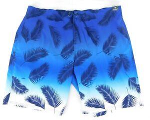 """NWT ROUNDTREE & YORKE BIG MAN Size 3XB Blue Palm Swim Trunks Board Shorts 11"""""""