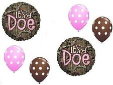 6 PC SET MOSSY OAK It's a DOE Pink GIRL Baby Shower Camouflage FREE SHIP