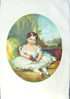 Original Old Antique Print 1857 Colour Portrait Little Girl Ada Fruit Victorian