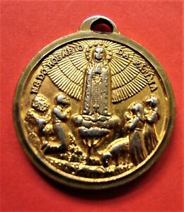 Vintage Our Lady of Fatima Gold Tone Holy Medal