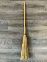 "Primitive Straw Hearth Broom Vintage Farmhouse Wire Wrap Handmade 34"" Americana"