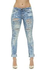 VIP Ripped Distressed Skinny  Jeans For Women 5 Acid Bleach color Choices