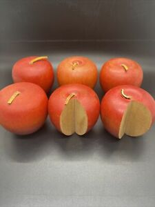 Lot Of 6 primitive Style Wood Apples With Leather Stem Vintage