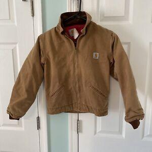 Vtg Carhartt Kids Boys Work Style Jacket Coat Size 12 Full Zip Lined JQ606