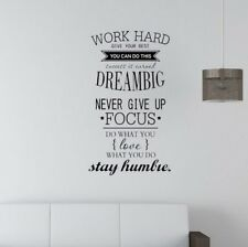 Modern Wall Stickers Wall Decals Work Hard Dream Big Quotes chamber StudyRoom YA