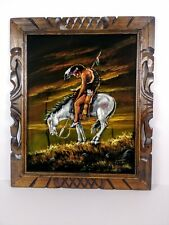 "Vintage""The End Of The Trail"" Native American Indian Warrior Oil Painting Signed"