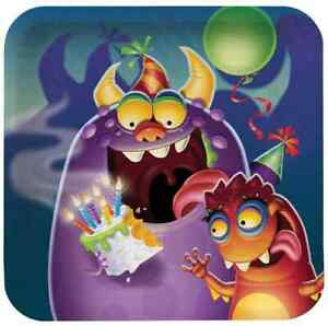"""Monster Mania Creature Scary Boys Kids Birthday Party 7"""" Square Dessert Plates"""