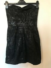 THERAPY Black Bandeau floral strapless Mini Dress Tie Back 10 ball prom dance