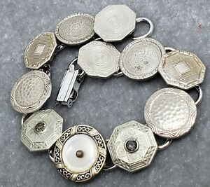 ART Deco Cufflink Bracelet : Silver plated cufflinks with engine turned detail